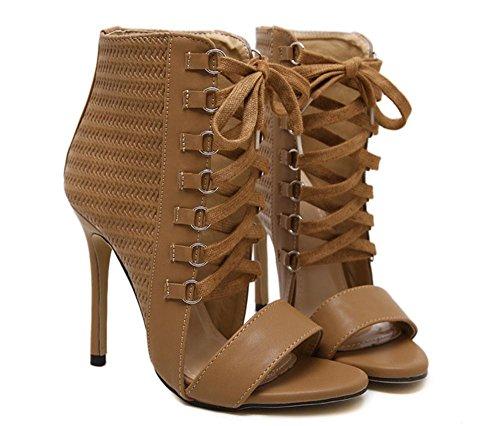 piede Tacco Vestito Nero Scarpe EUR Discoteca Donna UK Lavoro 5 alto Marrone Pizzo 37 sandali Stiletto del Sexy 5 4 Sbirciare Dito Festa wfZxIqFvZ