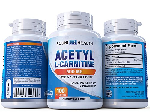 Bodhi Health Acetyl L-Carnitine 500mg Dietary Supplement: Advanced Formula Energy & Focus Booster | Mood Enhancing Health Supplement To Boost Strength Performance & Overall Wellness | 100 Veg Capsules by Bodhi Health