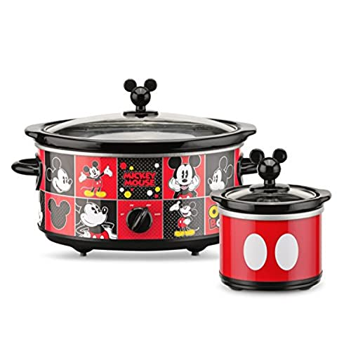 Beau Disney DCM 502 Mickey Mouse Oval Slow Cooker With 20 Ounce Dipper, 5 Quart,  Red/Black
