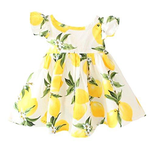 f8b0caf84 Baby Girls Dress Lemon Floral Sleeveless Sundress Infant Princess Summer  Vest Dress