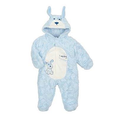 Infant Boys Plush Blue Puppy Dog Snowsuit Baby Pram Snow Suit