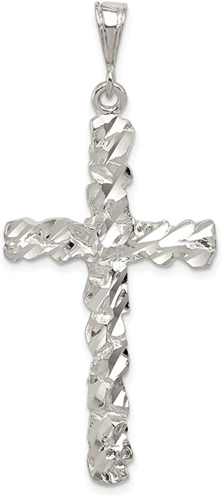Sterling Silver Shiny-cut Cross Pendant