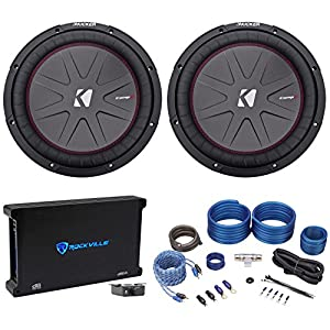 "(2) Kicker 43CWR122 COMPR12 12"" 2000 Watt Car Subwoofers+Mono Amplifier+Amp Kit"