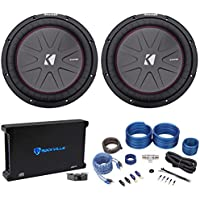 (2) Kicker 43CWR122 COMPR12 12 2000 Watt Car Subwoofers+Mono Amplifier+Amp Kit