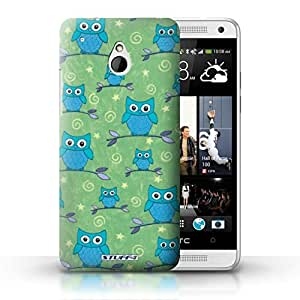 KOBALT? Protective Hard Back Phone Case / Cover for HTC One/1 Mini   Blue/Green Design   Cute Owl Pattern Collection