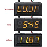"DROK® 0.56"" Fahrenheit Scale Car Digital Temp Clock Volt Meter 3in1 Yellow LED Auto Gauge Thermometer With 18B20 Probe"
