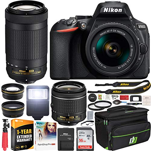 Nikon D5600 DSLR Wi-Fi Digital SLR Camera with AF-P 18-55mm VR & 70-300mm ED Double Zoom 2 Lens Kit + 0.43x Wide Angle Lens + 2.2X Telephoto Lens + Deco Gear Case + Extended Warranty Accessory Bundle