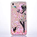 iPhone 6 Plus Case,iPhone 6s Plus Case,GreenDimension Slim PC Crystal Clear Luxury Glitter Flowing Liquid Floating Moving Pink Stars Hard Protective Shock Absorption Cover + Stylus Pen - Cute Cat Girl