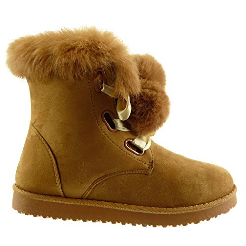 lace fur Snow heel Women's 2 Angkorly 5 Satin Camel pom Shoes Ankle Booty Fashion CM pom boots Boots flat x7HwYqvH