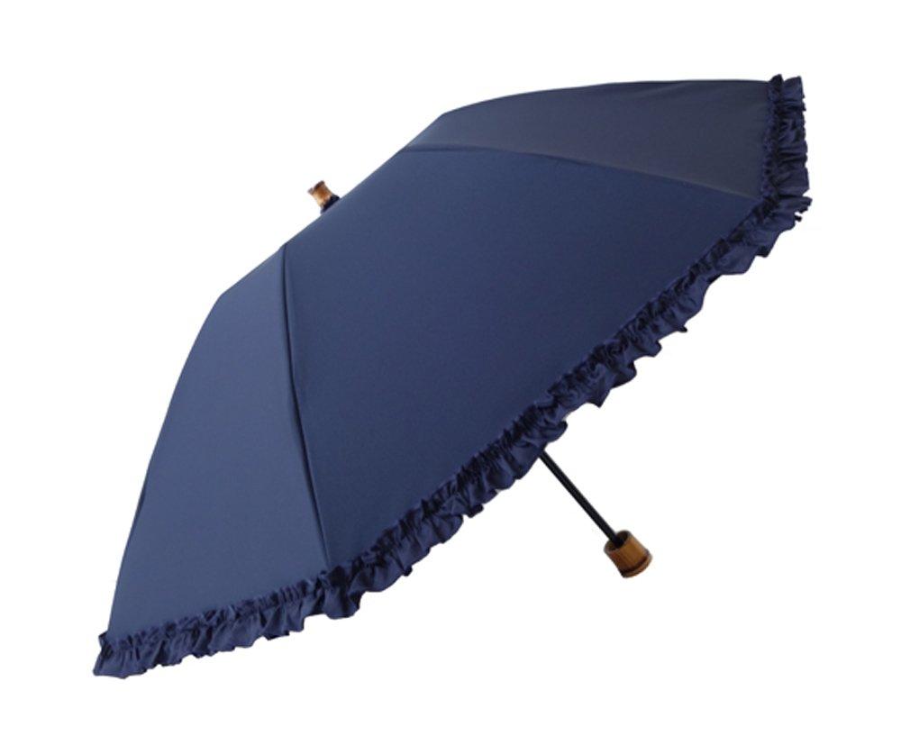 クラシコ 日本製生地 完全遮光100% 遮光100% 晴雨兼用 日傘 uvカット 100% 遮光 紫外線カット ラミネート 1級遮光 レディース 折りたたみ 50cm バンブーハンドル 筒形 B076HZS4WC 03 ネイビー 03 ネイビー