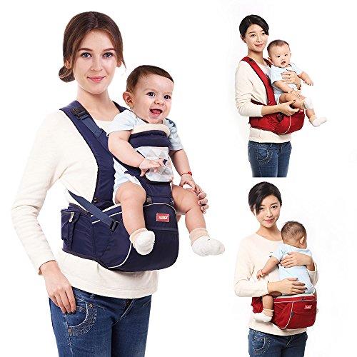 SUNVENO 2 in 1 Baby Carrier Hip Seat with Shoulder Straps Comfort Ergonomic Waist Stool (Navy Blue) - Angel Hugger