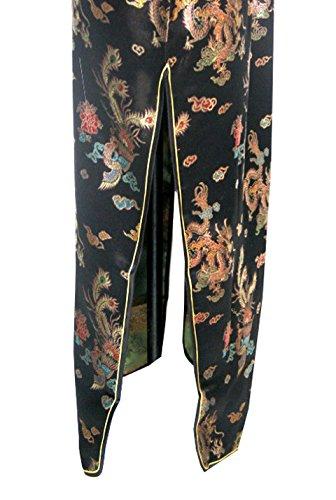 7Fairy Damen Schwarz Ancient Chinesisch Abend Kleid Cheongsam Lang Drachen