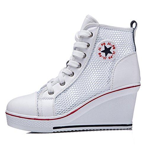 3 Frauen Reißverschluss Weiß High Segeltuchschuhe Seitlichem Keil Schnürstiefel Sneakers Plattform Top Trainer Mädchen Kivors Ozqd6xAwd