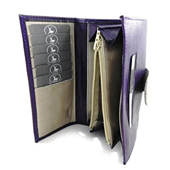 Large leather wallet 'Frandi' purple wild gray.