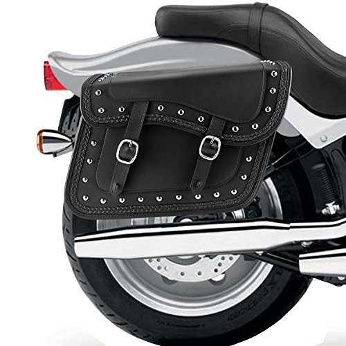 Nomad USA Leather Slanted Motorcycle Saddlebags w/Quick Release Buckles (Braided & Studded) by Nomad USA (Image #2)