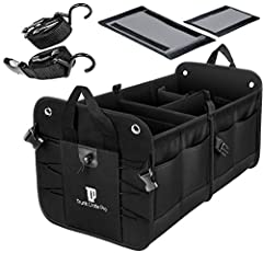 Features and Benefits ✓ All-In One black Auto Trunk Organizer allowing for as many as 4 compartments which includes 2 removable sub-dividers for customization  ✓ 11 pockets in total to store small, medium, big items - 2 large expandable quali...