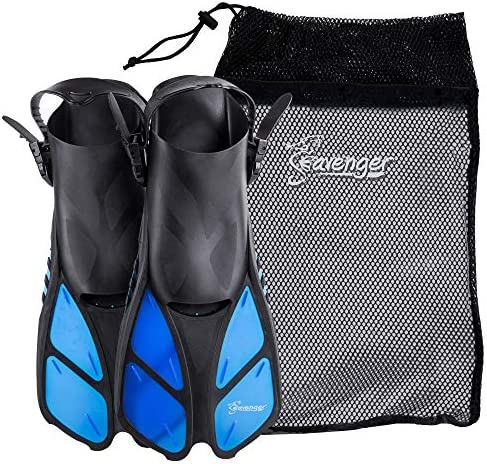 Seavenger Torpedoスイムフィン マウサー旅行サイズ女性、男性、子供用メッシュバッグ付きシュノーケリング足ひれ(青、L/XL)
