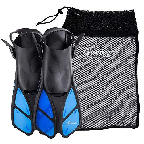 Seavenger Torpedo Swim Fins   Travel Size   Snorkeling Flippers with Mesh Bag for Women, Men and Kids (Blue, L/XL)