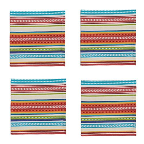 Design Imports Baja Cantina Cotton Southwest Table Linens, Napkins 20-Inch by 20-Inch, Set of 4, Baja Stripe