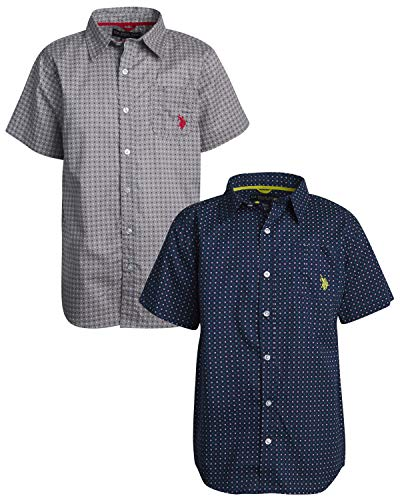 U.S. Polo Assn. Boys Short Sleeve Woven Shirt (2 Pack), Grey/Navy Dots, Size 10/12' ()