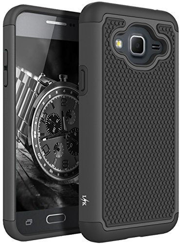 J3 Case, Express Prime Case, Amp Prime Case, LK [Shock Absorption] Hybrid Armor Defender Protective Case Cover for Samsung Galaxy J3/Express Prime/Amp Prime (Black) - Contour Leather Folio Case