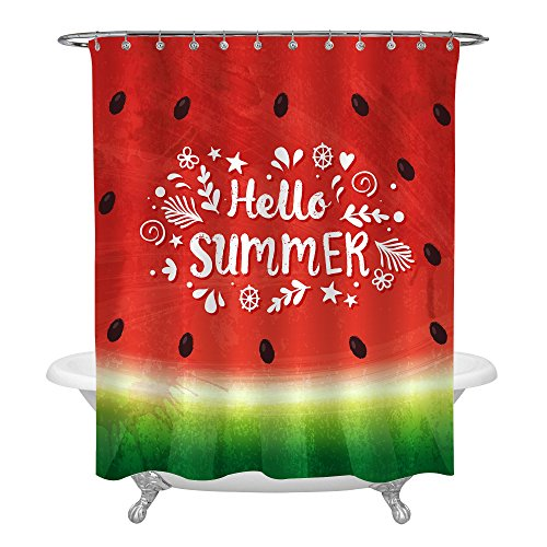 MitoVilla Tropical Fruit Decor Shower Curtain Set with Hooks, Tasty Watermelon Hello Summer Watercolor Seasonal Home Aceesoories, Beach Party Supplies, Washable, 72x78, Red Green ()