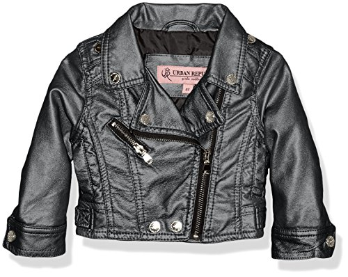 Urban Moto Jacket - Urban Republic Baby Girls Metallic Faux Leather Moto Jacket, Black, 12M