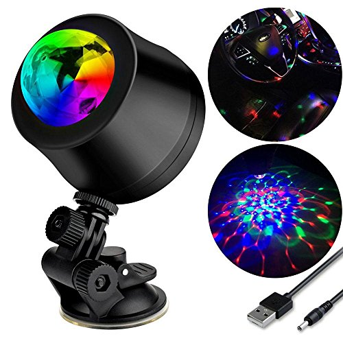 Mini Disco Effect Ball Light, USB Portable Powered Auto DJ Stage Light Bulb for Car Indoor Karaoke Family Party KTV Concert Xmas Effect Lamp (Sunroof Cable Guide)