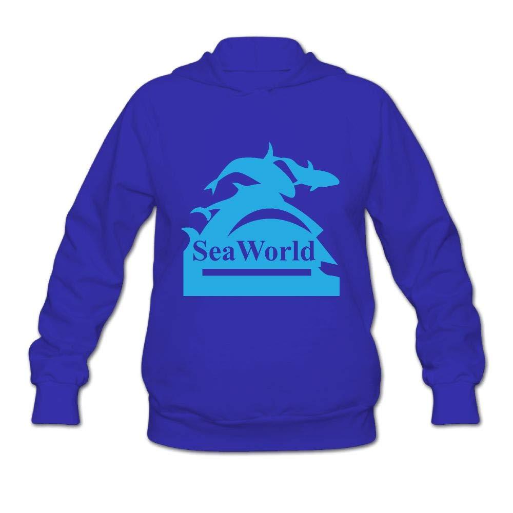 Women's Seaworld Logo Long Sleeve Hooded Sweatshirt by QTHOO