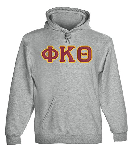 Fashion Greek Phi Kappa Theta Twill Letter Hoody Sport Grey ()