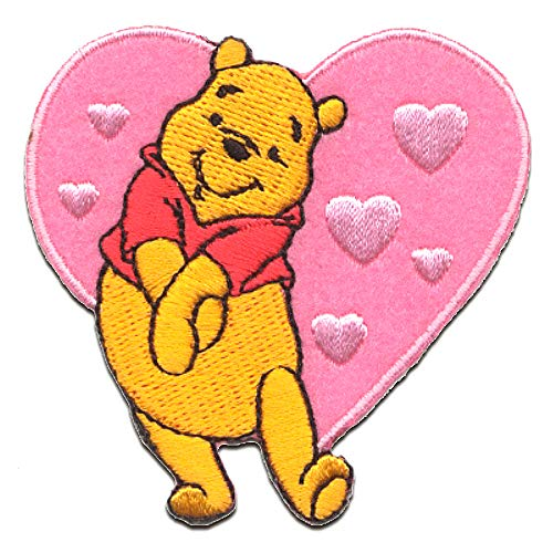 Iron on patches - WINNIE THE POOH 'HEART' - pink - 6,2x6,1cm - by catch-the-patch Application Embroided patch badges