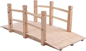 VINGLI 5 ft Garden Bridge, Classic Wooden Arch with Safety Rails Natural Finished Footbridge, Decorative Pond Landscaping, Backyard Creek or Farm
