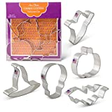 Halloween Cookie Cutters - 5 Piece Boxed Set - Pumpkin, Ghost, Skull, Bat, Witch's Hat - Ann Clark - US Tin Plated Steel
