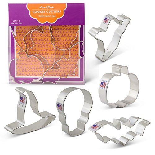 Halloween Cookie Cutters - 5 Piece Boxed Set - Pumpkin, Ghost, Skull, Bat, Witch's Hat - Ann Clark - US Tin Plated Steel -