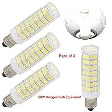 led e11 led light bulbs mini Candelabra base 120V jd t4 led light bulbs 6w, 60W halogen bulbs replacement Warm white, Ceiling fan light-pack of 3 (Daylight White 6000K)