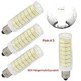 75 watt ceiling fan bulbs - led e11 led light bulbs mini Candelabra base 120V jd t4 led light bulbs 6w, 60W 75W halogen bulbs replacement Daylight white, Ceiling fan light-pack of 3 (Daylight White 6000K)