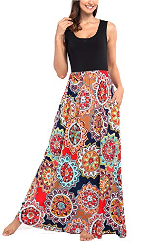 Comila Petite Dresses for Women Casual, Summer Tank Tops with Pockets Retro Floral Tank Sleeveless Bridesmaid Beach Bohemian Maxi Dresses Multicolored L (US 12-14) by Comila