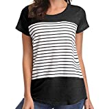 Loritta Womens Short Sleeve T Shirt Color Block Striped Blouse Tops Casual Round Neck Tunic Tees