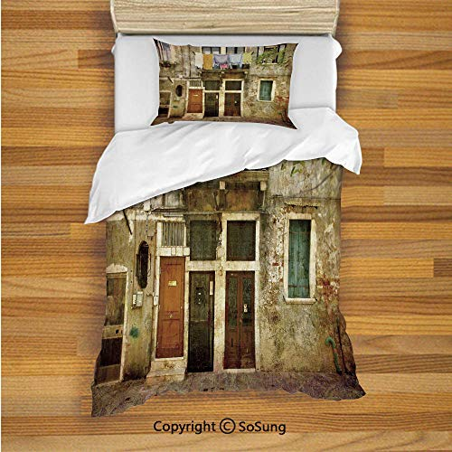- SoSung Venice Kids Duvet Cover Set Twin Size, Old Weathered Building Facade with Hanged Clothes Murano Island Grunge Architecture 2 Piece Bedding Set with 1 Pillow Sham,Multicolor