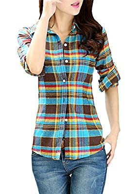 LATUD Women's Long Sleeves Vintage Plaids Button Down Flannel Cotton Shirt