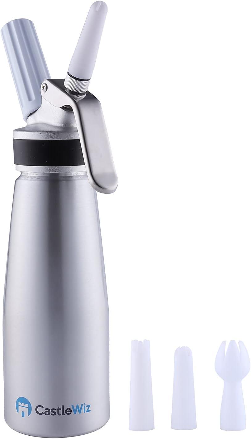 Whipped Cream Dispenser - Professional Grade Whipped Cream Maker - 500mL (1 Pint) Aluminum Whipping Siphon - Cream Whipper w/Silicon Grip (Easy Handle) - Leak Resistant Whip Cream Dispenser w/parts