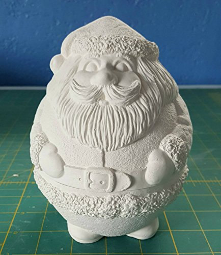 Roly Poly Santa Candy Dish Glazed inside unpainted ceramic bisque ready to be painted