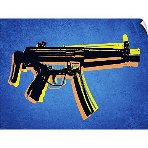 MP5 Sub Machine Gun on Blue Wall Peel Art Print, 40