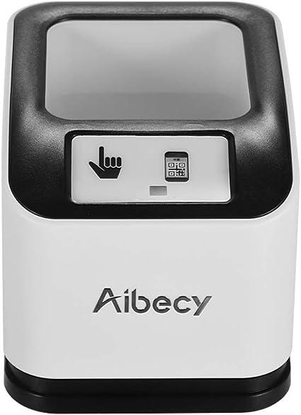 Aibecy Escáner de código de barras 2200 1D / 2D / QR Lector de códigos de barras de escritorio CMOS Escáner omnidireccional de códigos de barras USB ...