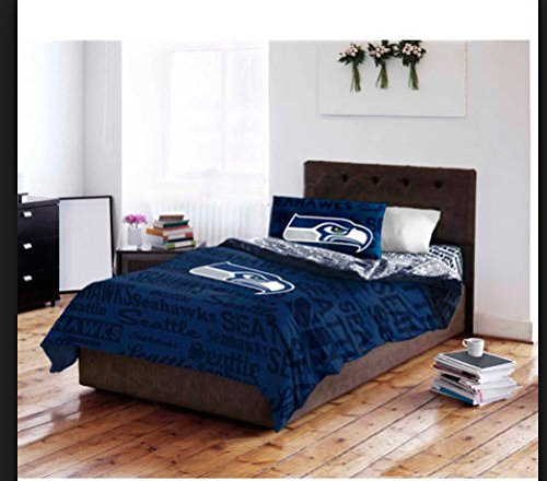 Seattle Seahawks NFL Twin Comforter & Sheet Set (4 Piece Bed In A Bag)