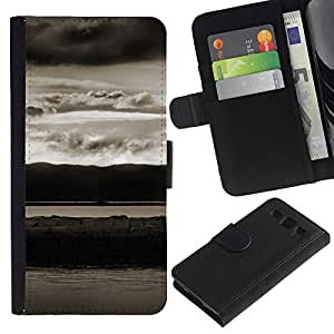 KingStore / Leather Etui en cuir / Samsung Galaxy S3 III I9300 / Paisaje abstracto