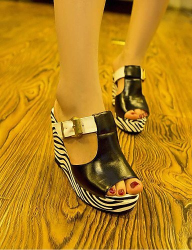 ShangYi Womens Shoes Wedge Heel Peep Toe Sandals Dress Shoes More Colors available Black