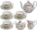 Gracie China by Coastline Imports Blue Cottage Rose Chintz 11-Piece Tea Set