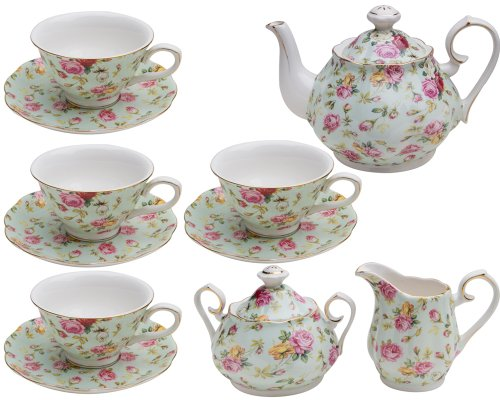 Gracie China by Coastline Imports Blue Cottage Rose Chintz 11-Piece Tea ()