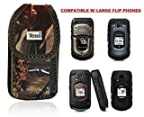 Premium Vertical Hunting CAMO Case, Rugged Realtree Pouch Holster Metal Clip Flip Phone Belt Case Fits Kyocera Cadence LTE, DuraXTP, DuraXV LTE, DuraXV Plus, DuraXE, Convoy 4, Most Large FLIP Phones